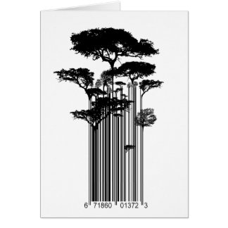 Banksy Style Barcode Trees illustration Card