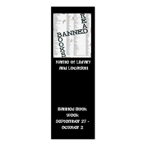 Banned Book Week Mini Bookmark to Customize Business Card Template