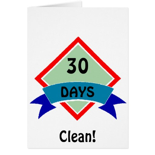 Banner 30 days clean greeting cards