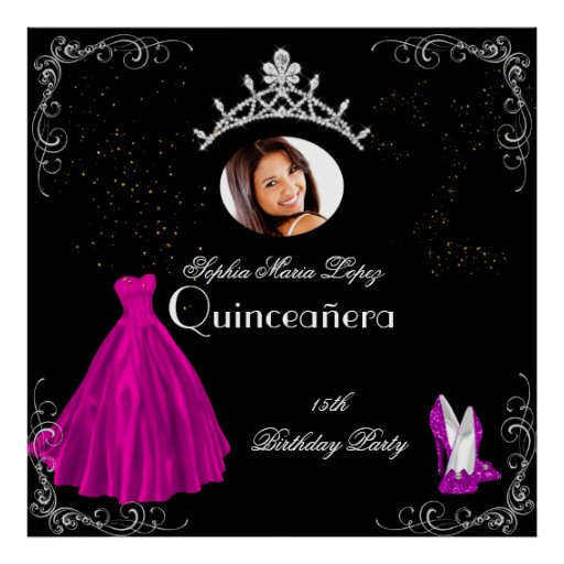 Banner Add Photo Quinceanera Party Pink Black Poster