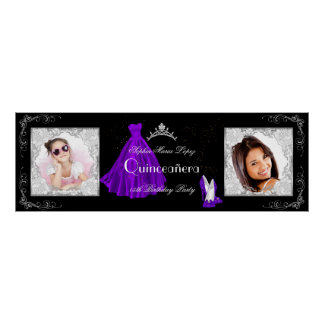Banner Add Photos Quinceanera Party Purple Black Poster