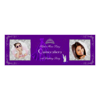 Banner Add Photos Quinceanera Party Purple Silver Poster