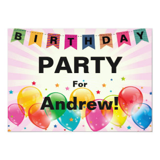 Banner and Balloons Birthday Party Card