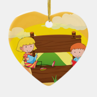 Banner and children Double-Sided heart ceramic christmas ornament