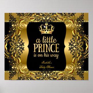 Banner Baby Shower Little Prince Gold Black Poster