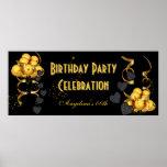 Banner Birthday Party Celebration Black Gold Poster