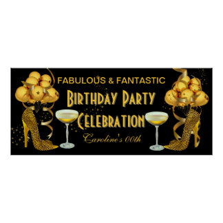 Banner Birthday Party Celebration Leopard Gold Poster
