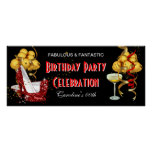 Banner Birthday Party Celebration Red Gold Poster