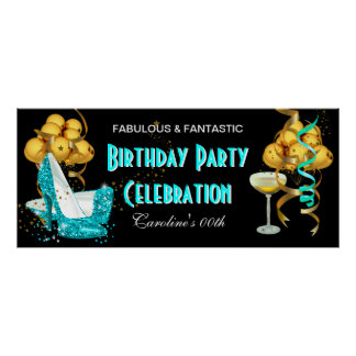 Banner Birthday Party Celebration Teal Blue Gold Poster
