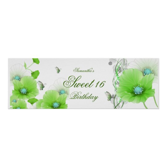 Banner Birthday Party Pretty Green Floral White Poster