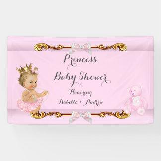 Banner Blonde Girl Princess Baby Shower Pink Gold