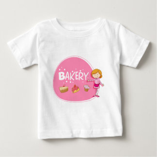 Banner design with baker and cake baby T-Shirt