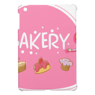 Banner design with baker and cake case for the iPad mini