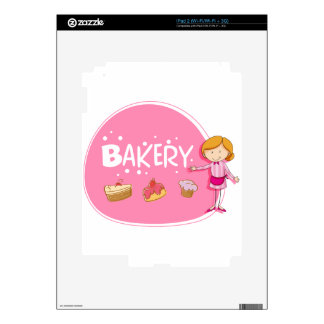 Banner design with baker and cake decal for iPad 2