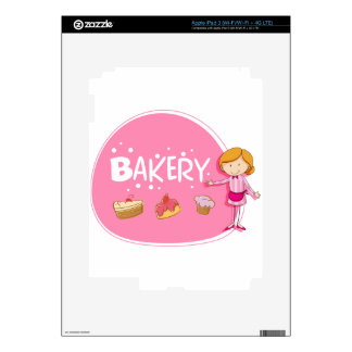 Banner design with baker and cake iPad 3 decal