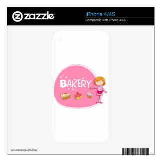 Banner design with baker and cake iPhone 4 decal