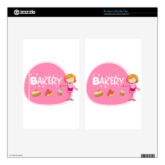 Banner design with baker and cake skin for kindle fire