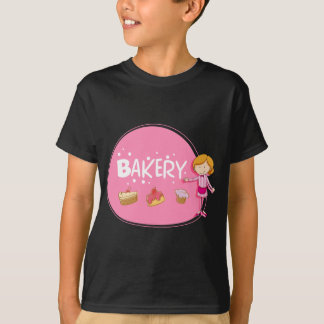 Banner design with baker and cake T-Shirt