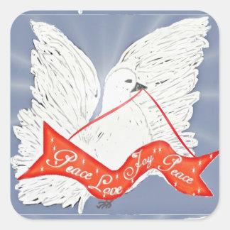 Banner Dove- Custom Square Stickers