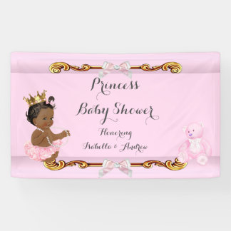Banner Ethnic Princess Baby Shower Pink Gold