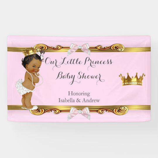 banner ethnic princess baby shower pink white gold | zazzle, Baby shower invitations