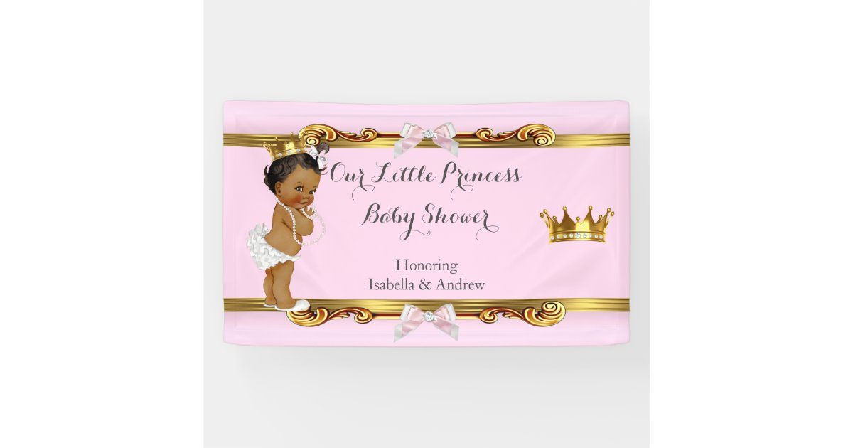 Banner Ethnic Princess Baby Shower Pink White Gold Zazzle