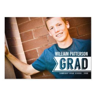 "Banner Grad Guy Photo Graduation Party Invitation 5"" X 7"" Invitation Card"