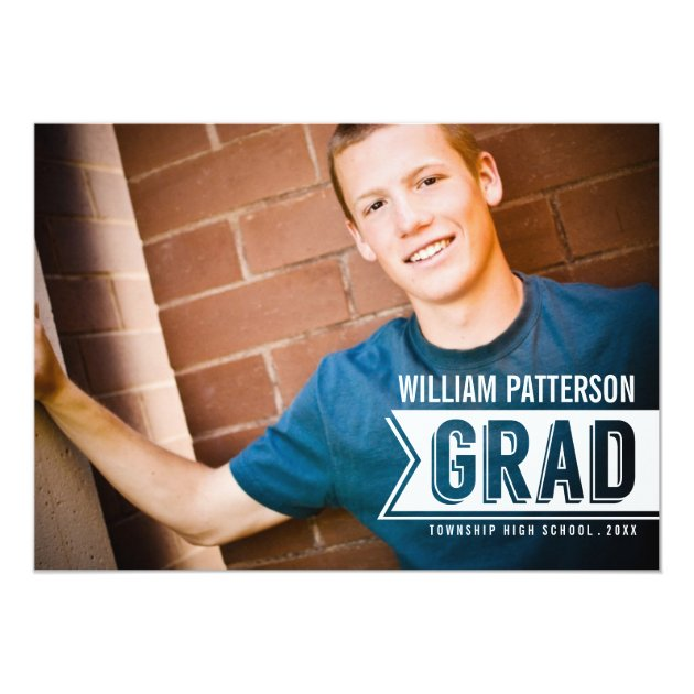 Banner Grad Guy Photo Graduation Party Invitation
