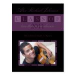 Banner Graduation Announcement Postcard (purple)