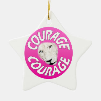 Banner of Courage (Round Pink) Ceramic Ornament