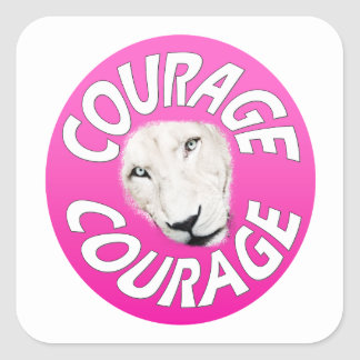 Banner of Courage (Round Pink) Square Sticker