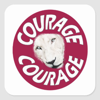 Banner of Courage (Round Red) Square Sticker