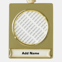 Banner Ornament - Gold Plated Create Your Own Gold Plated Banner Ornament