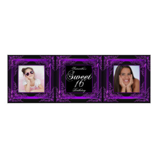 Banner Photo Sweet 16 Party Purple Black Poster