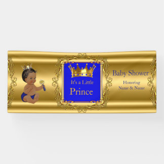 Banner Prince Baby Shower Blue Gold Ethnic