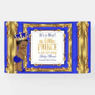 Banner Prince Baby Shower Royal Blue Gold Ethnic