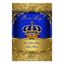 Banner Prince Boy Baby Shower Blue Gold Crown Poster