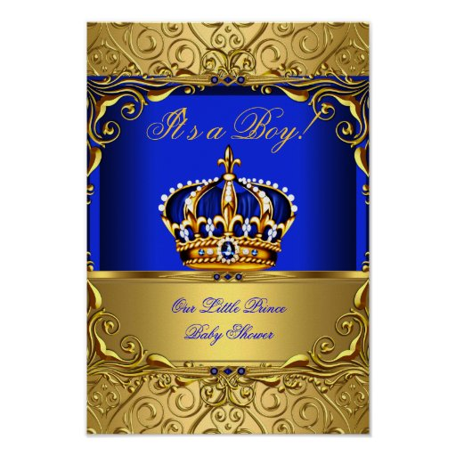 Baby Boy Gifts Under $20 : Banner prince boy baby shower blue gold crown poster zazzle