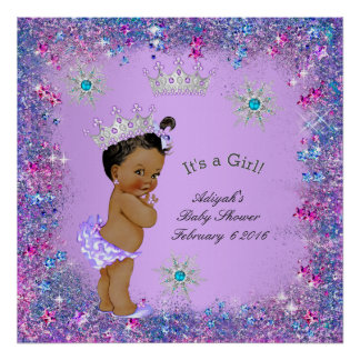 Banner Princess Baby Shower Lilac Teal Pink Ethnic Poster