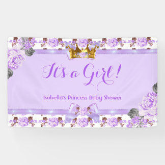 Banner Princess Baby Shower Purple Roses Floral