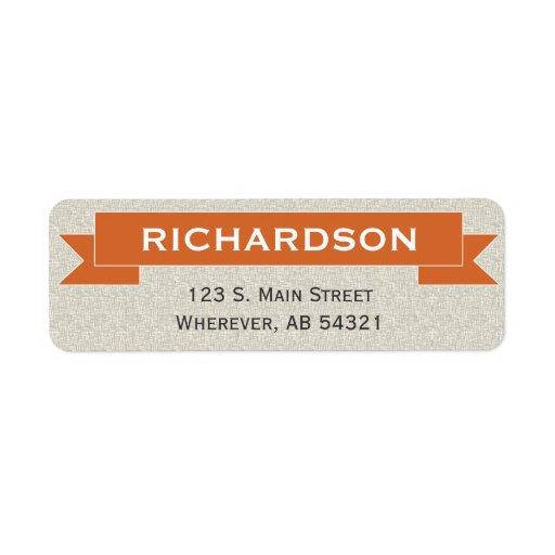 Banner ribbon sign orange return address label