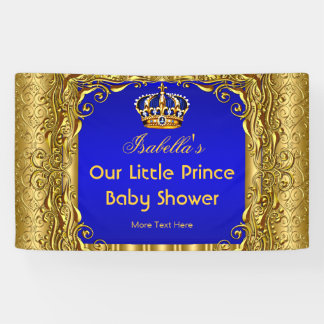 Banner Royal Prince Baby Shower Blue Gold Crown