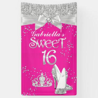Banner Sparkle Tiara Heels Sweet 16 Hot Pink