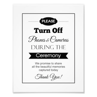 Banner Turn Off Phones and Cameras Wedding Sign Photo Print