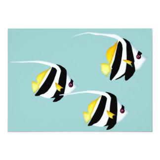 """Bannerfish negro y amarillo invitación 5"""" x 7"""""""