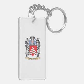 Bannister Coat of Arms - Family Crest Double-Sided Rectangular Acrylic Keychain