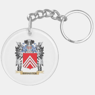 Bannister Coat of Arms - Family Crest Double-Sided Round Acrylic Keychain