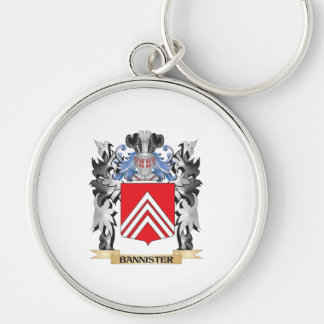 Bannister Coat of Arms - Family Crest Silver-Colored Round Keychain