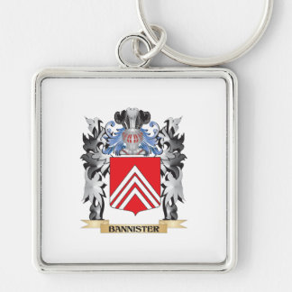 Bannister Coat of Arms - Family Crest Silver-Colored Square Keychain