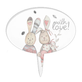 banny rabbit couple 2 cake topper